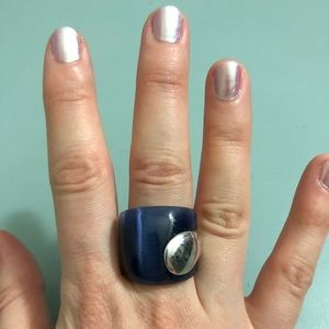 Navy Blue and Silver Ring